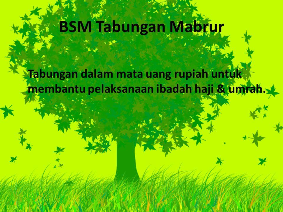 BSM Tabungan Mabrur Tabungan dalam mata uang rupiah untuk membantu pelaksanaan ibadah haji & umrah.