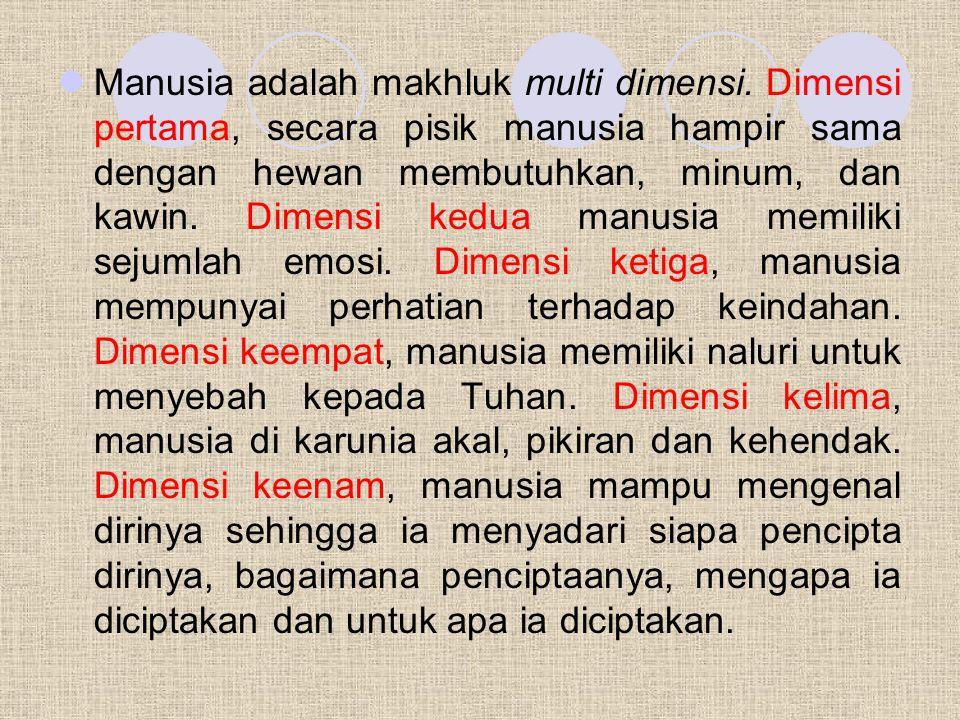 Manusia adalah makhluk multi dimensi