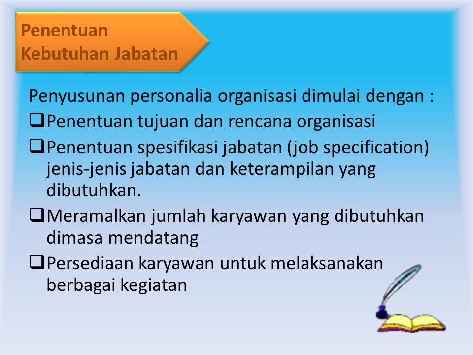Penentuan Kebutuhan Jabatan. Penyusunan personalia organisasi dimulai dengan : Penentuan tujuan dan rencana organisasi.