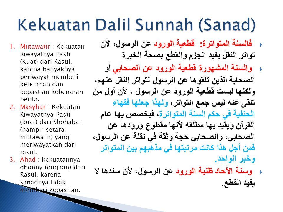 Kekuatan Dalil Sunnah (Sanad)
