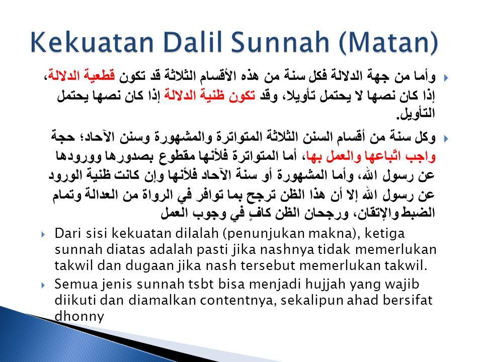 Kekuatan Dalil Sunnah (Matan)