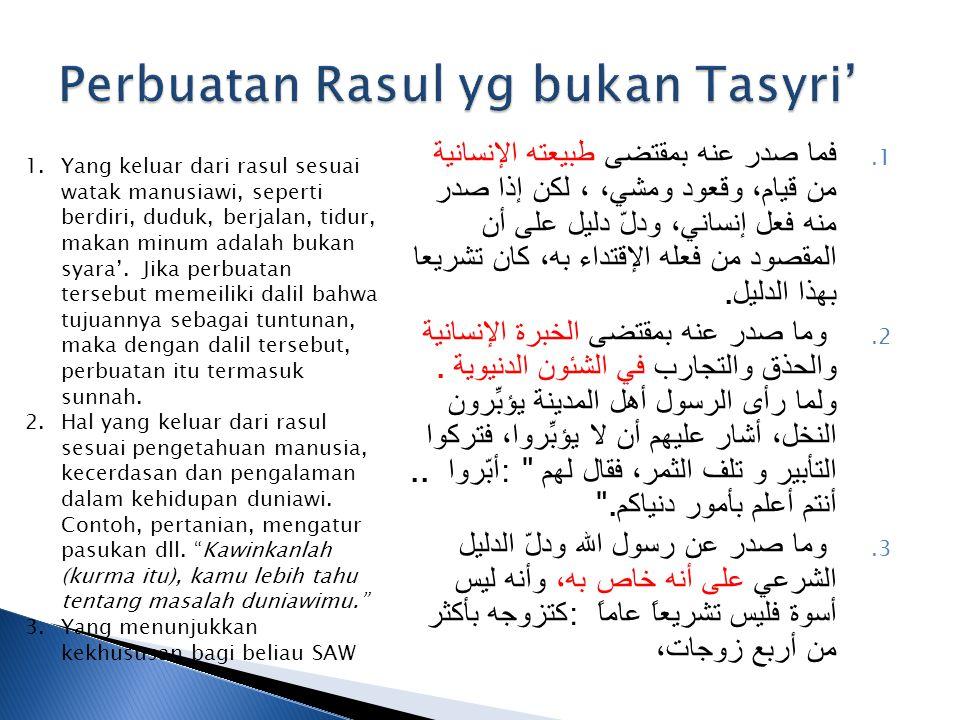 Perbuatan Rasul yg bukan Tasyri'