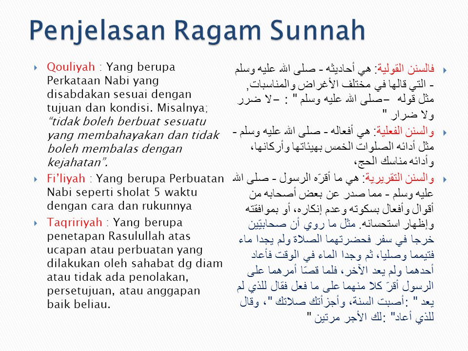 Penjelasan Ragam Sunnah