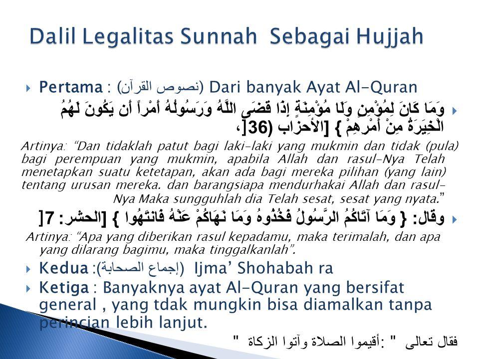 Dalil Legalitas Sunnah Sebagai Hujjah