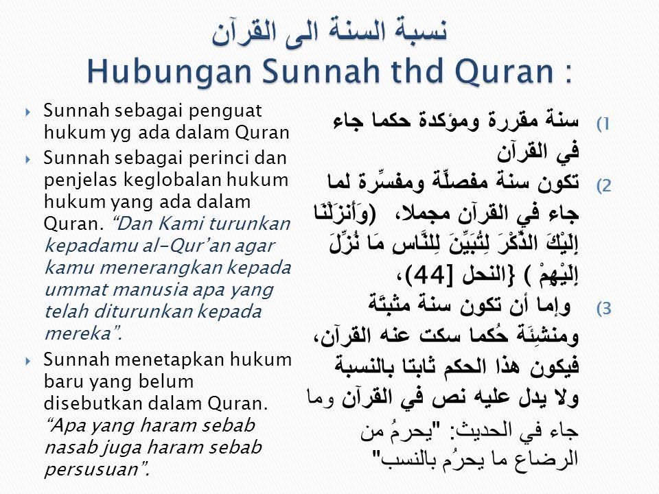 نسبة السنة الى القرآن Hubungan Sunnah thd Quran :