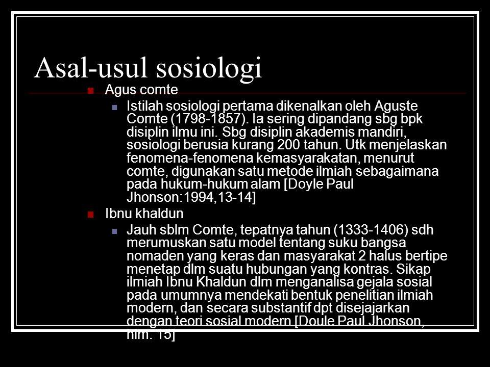 Asal-usul sosiologi Agus comte
