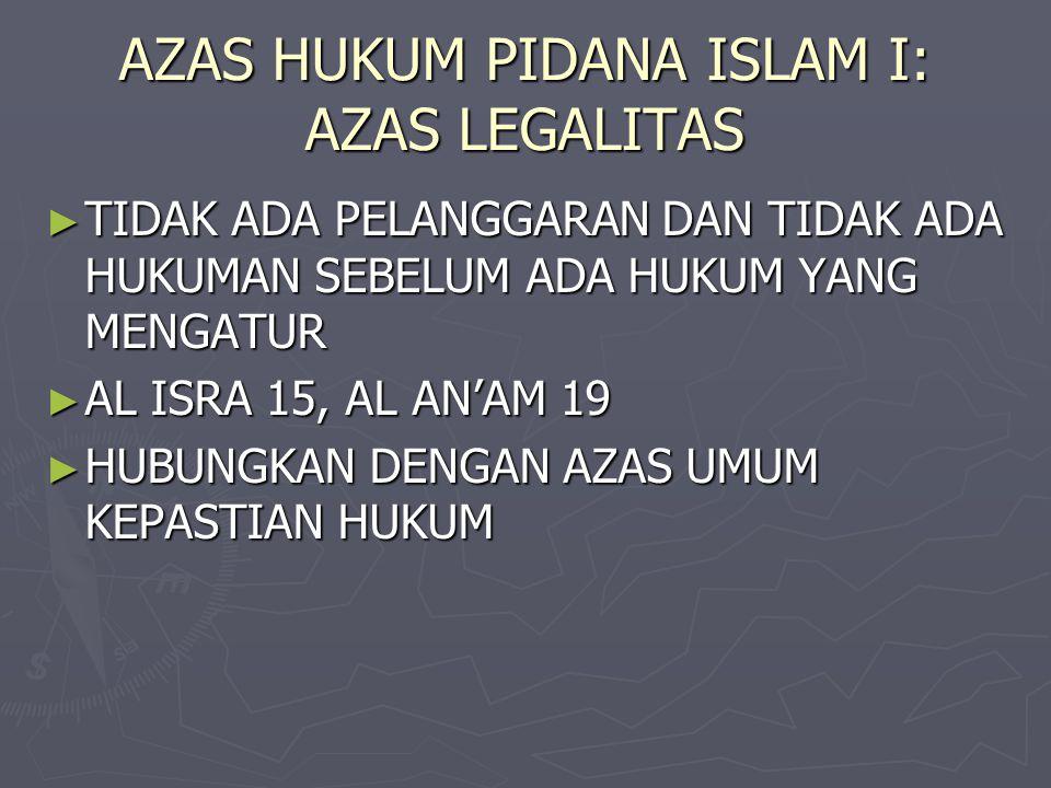 AZAS HUKUM PIDANA ISLAM I: AZAS LEGALITAS
