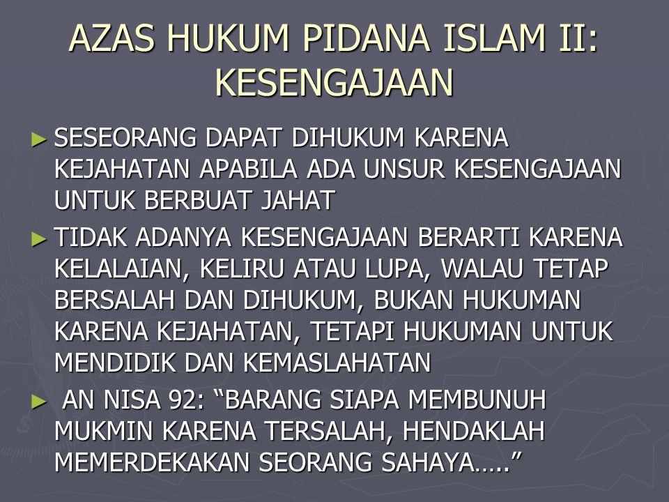 AZAS HUKUM PIDANA ISLAM II: KESENGAJAAN