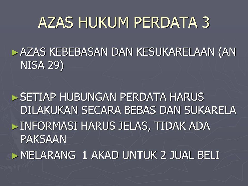 AZAS HUKUM PERDATA 3 AZAS KEBEBASAN DAN KESUKARELAAN (AN NISA 29)