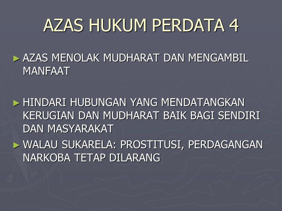 AZAS HUKUM PERDATA 4 AZAS MENOLAK MUDHARAT DAN MENGAMBIL MANFAAT