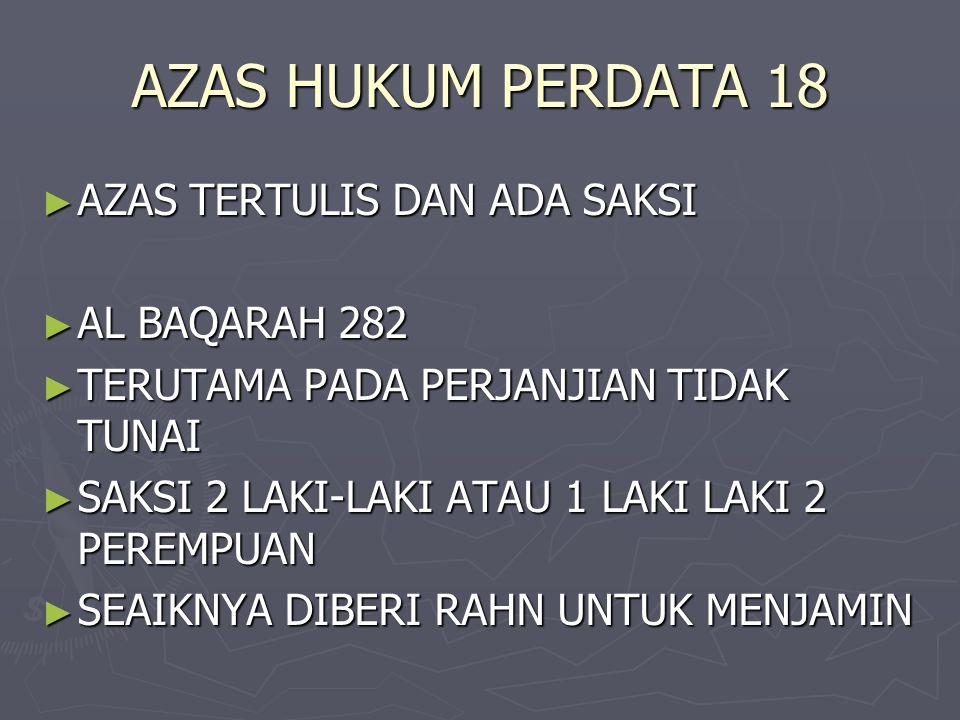 AZAS HUKUM PERDATA 18 AZAS TERTULIS DAN ADA SAKSI AL BAQARAH 282