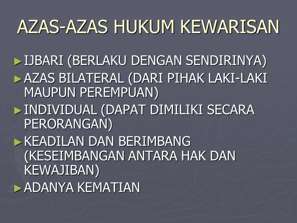 AZAS-AZAS HUKUM KEWARISAN