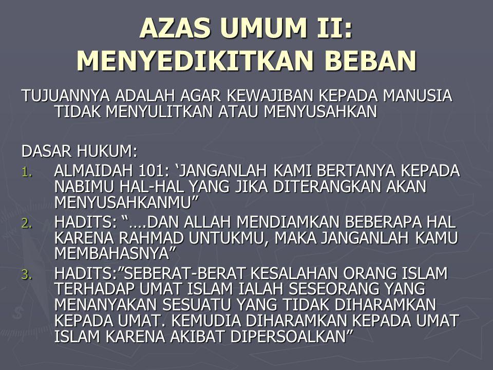 AZAS UMUM II: MENYEDIKITKAN BEBAN