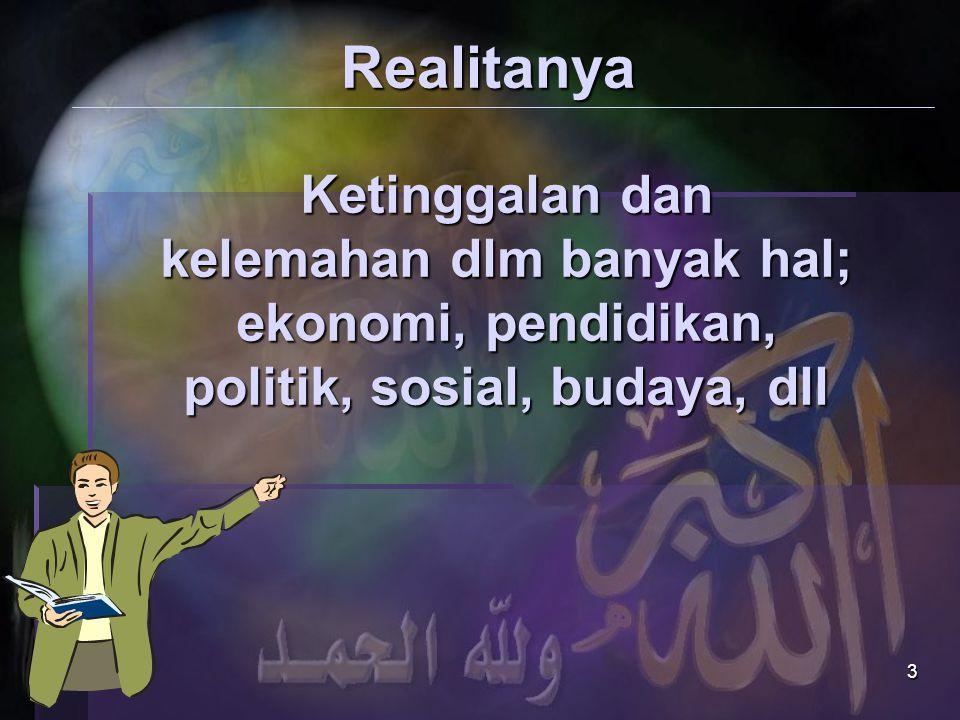 Realitanya Ketinggalan dan kelemahan dlm banyak hal; ekonomi, pendidikan, politik, sosial, budaya, dll.
