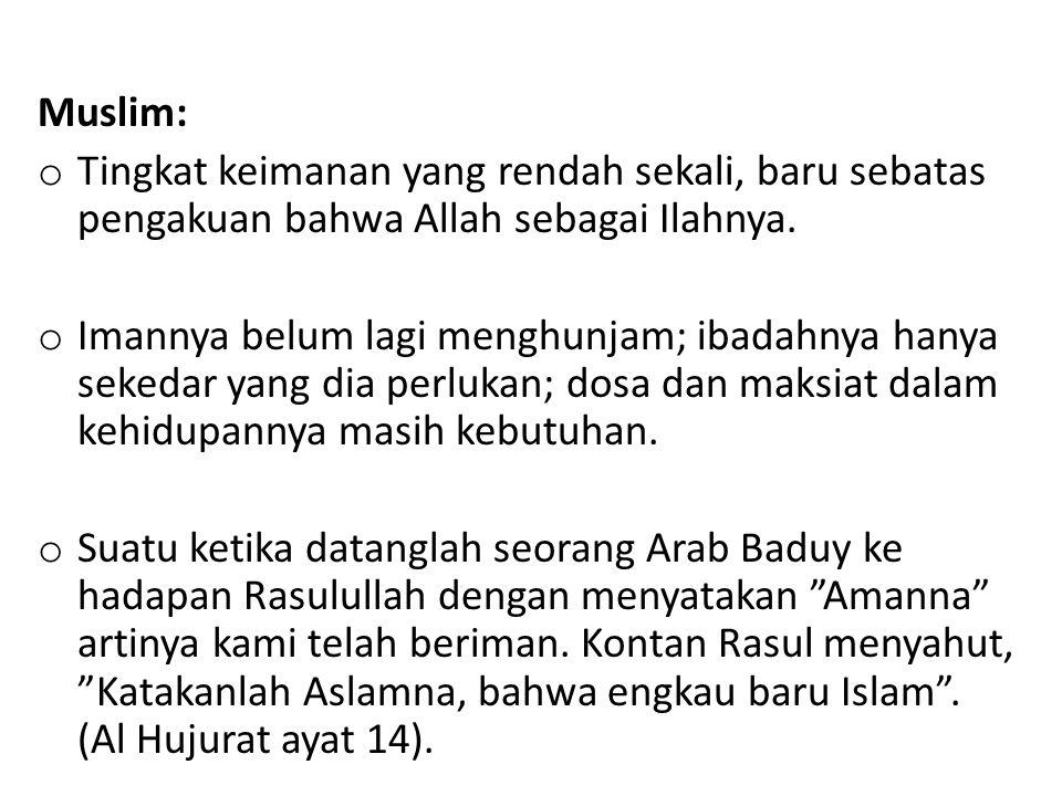 Muslim: Tingkat keimanan yang rendah sekali, baru sebatas pengakuan bahwa Allah sebagai Ilahnya.