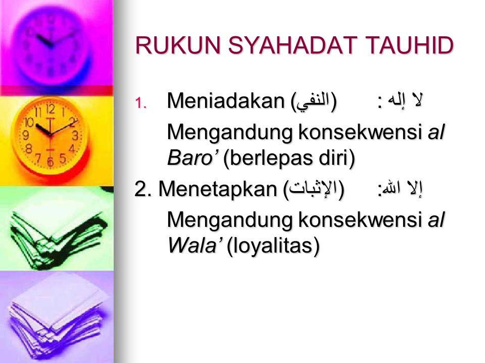 RUKUN SYAHADAT TAUHID Meniadakan (النفي) : لا إله