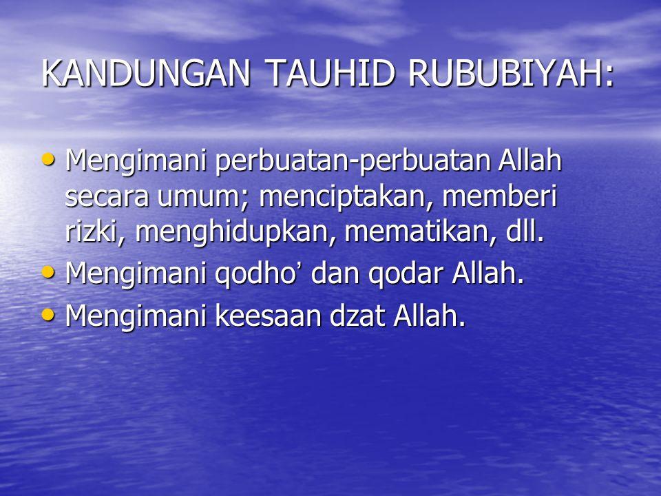 KANDUNGAN TAUHID RUBUBIYAH: