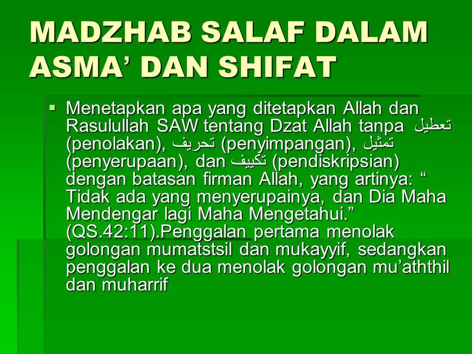 MADZHAB SALAF DALAM ASMA' DAN SHIFAT