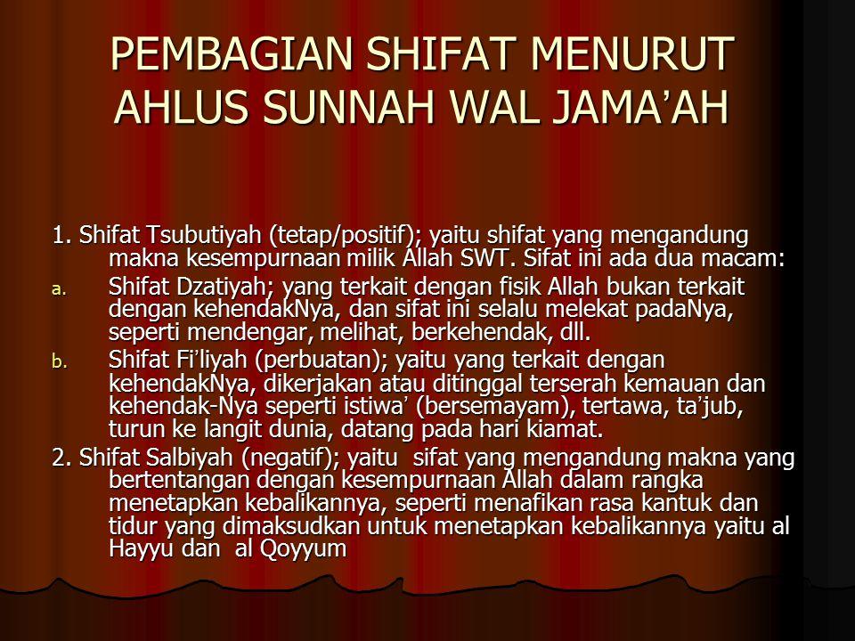 PEMBAGIAN SHIFAT MENURUT AHLUS SUNNAH WAL JAMA'AH