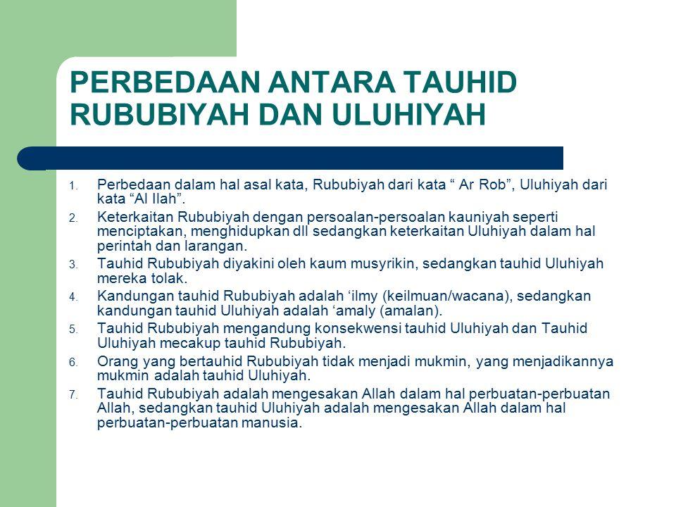 PERBEDAAN ANTARA TAUHID RUBUBIYAH DAN ULUHIYAH