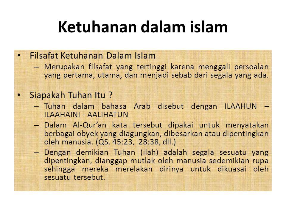 Ketuhanan dalam islam Filsafat Ketuhanan Dalam Islam