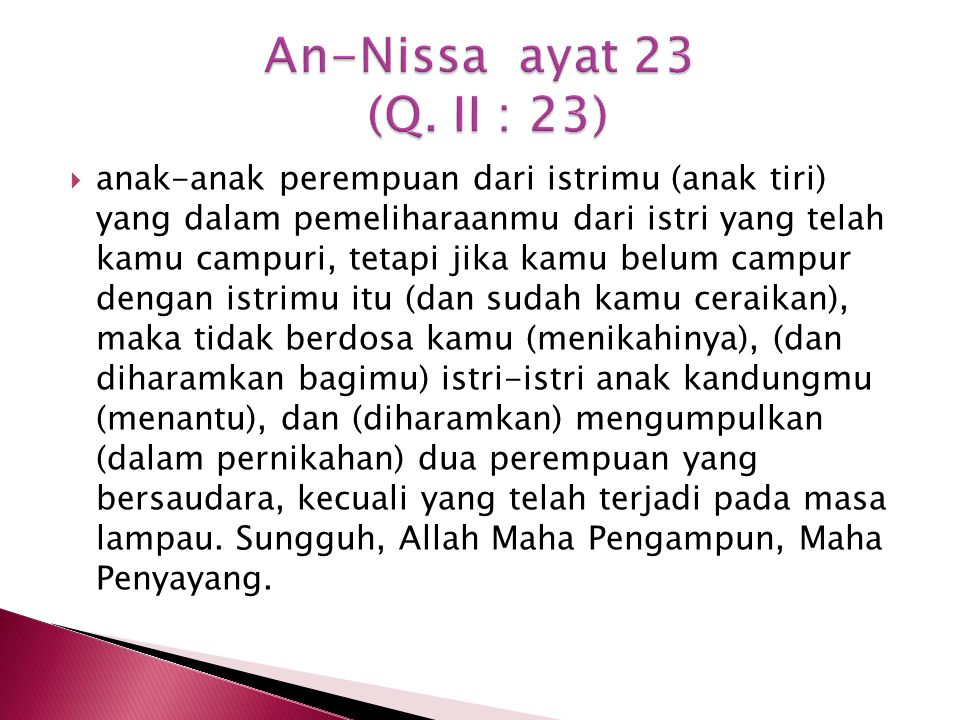 An-Nissa ayat 23 (Q. II : 23)