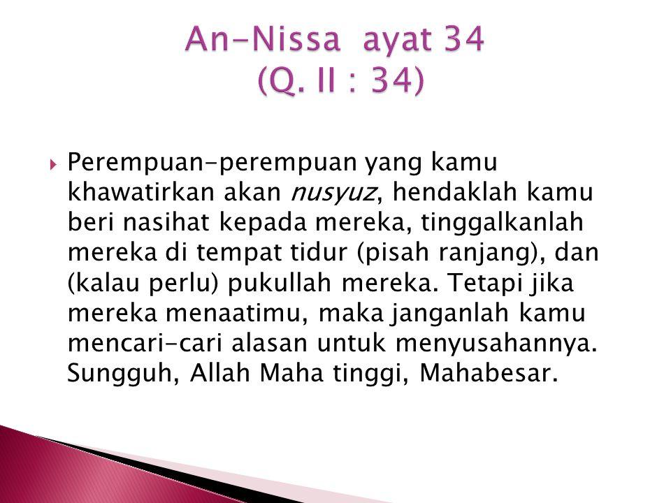 An-Nissa ayat 34 (Q. II : 34)