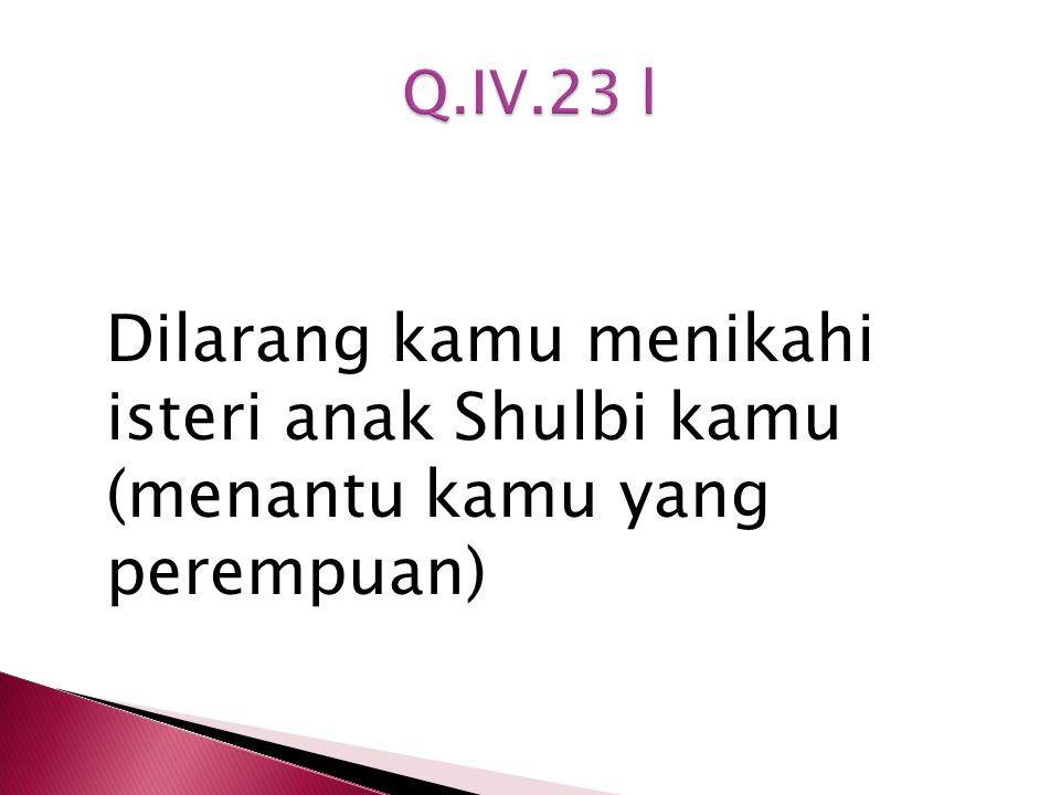 Q.IV.23 l Dilarang kamu menikahi isteri anak Shulbi kamu (menantu kamu yang perempuan)