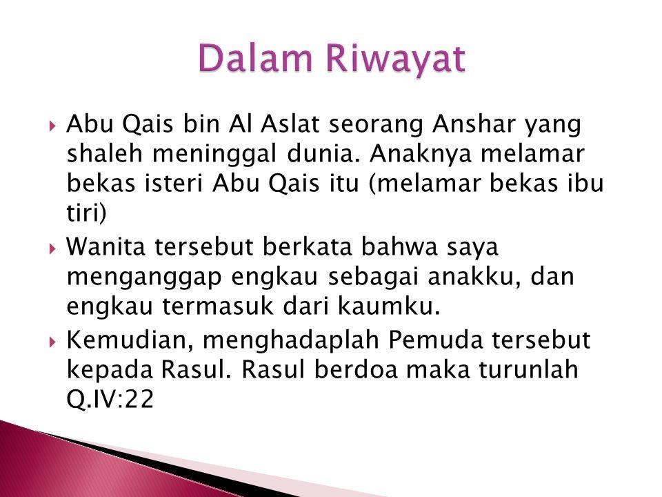 Dalam Riwayat Abu Qais bin Al Aslat seorang Anshar yang shaleh meninggal dunia. Anaknya melamar bekas isteri Abu Qais itu (melamar bekas ibu tiri)