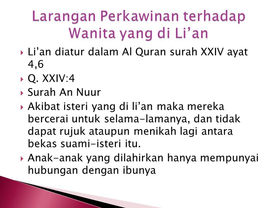 Larangan Perkawinan terhadap Wanita yang di Li'an