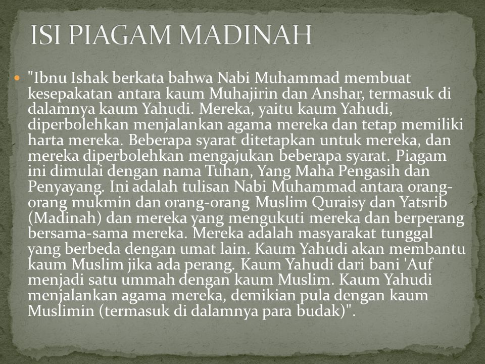 ISI PIAGAM MADINAH