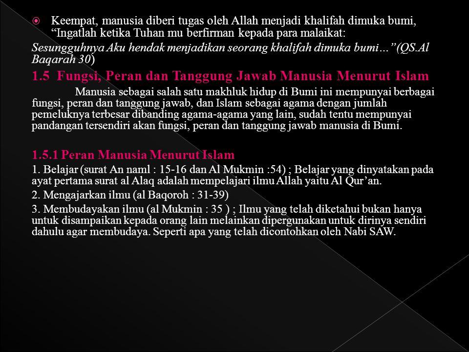 1.5 Fungsi, Peran dan Tanggung Jawab Manusia Menurut Islam