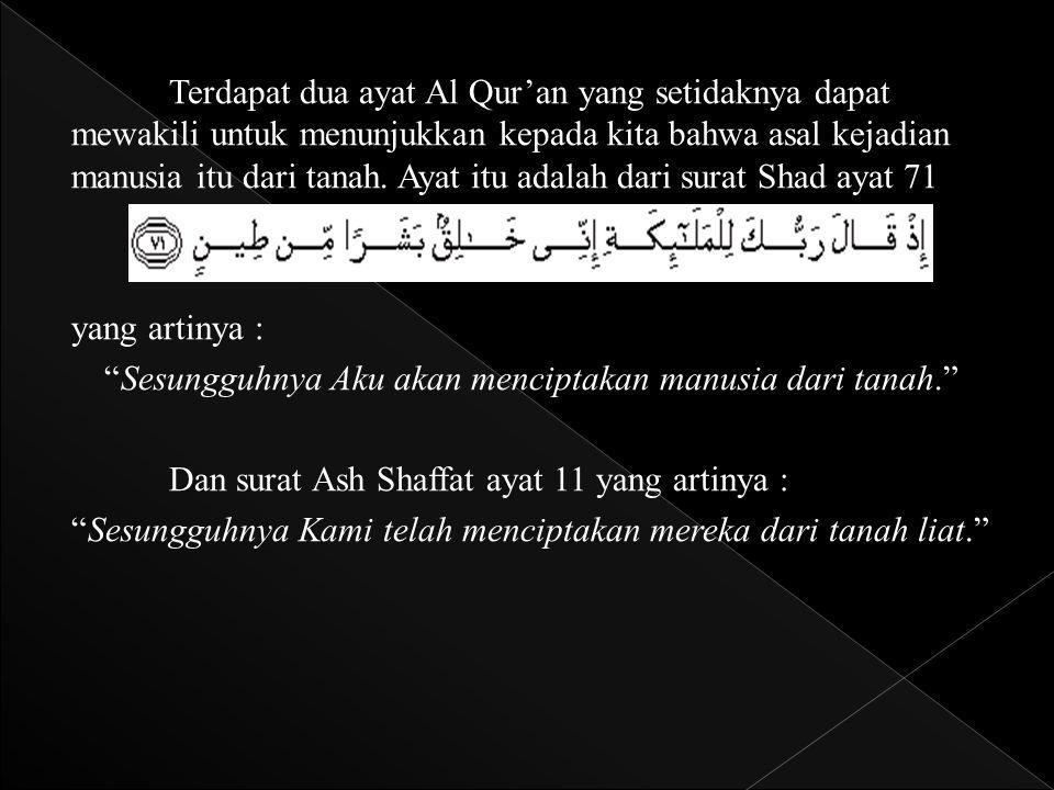 Terdapat dua ayat Al Qur'an yang setidaknya dapat mewakili untuk menunjukkan kepada kita bahwa asal kejadian manusia itu dari tanah.