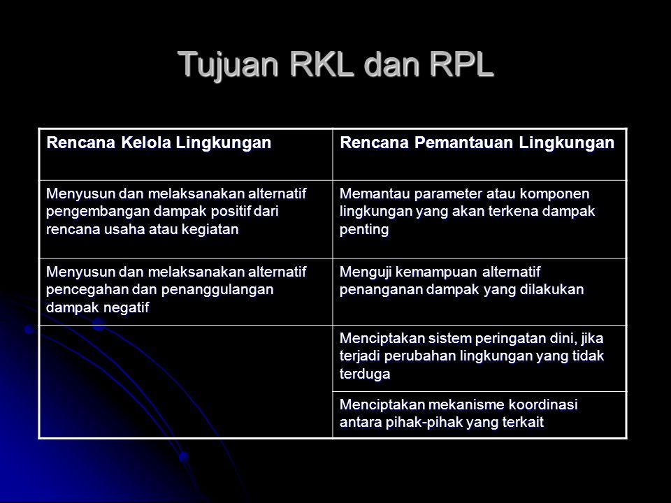 Tujuan RKL dan RPL Rencana Kelola Lingkungan