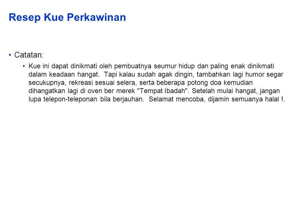 Resep Kue Perkawinan Catatan: