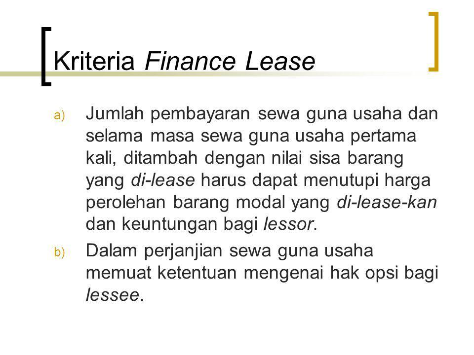 Kriteria Finance Lease
