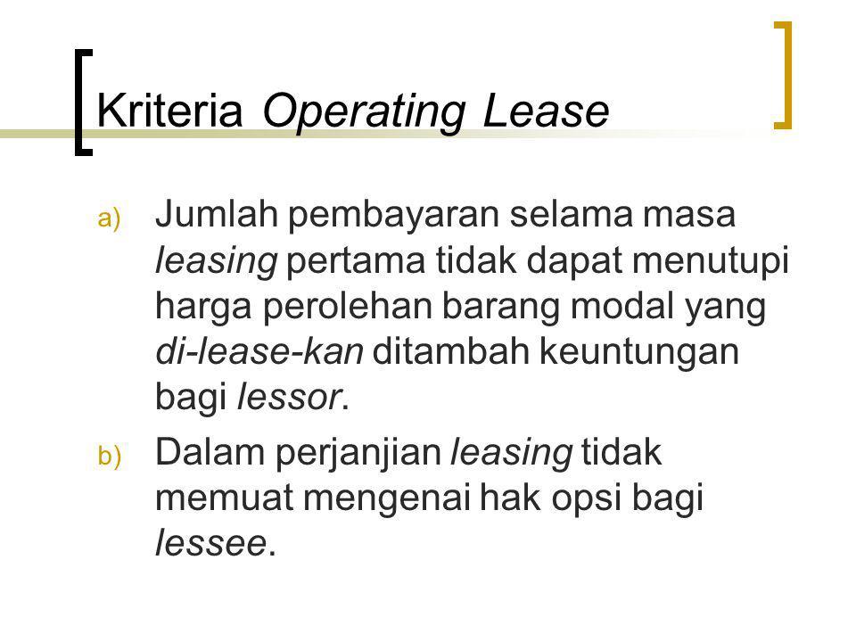 Kriteria Operating Lease