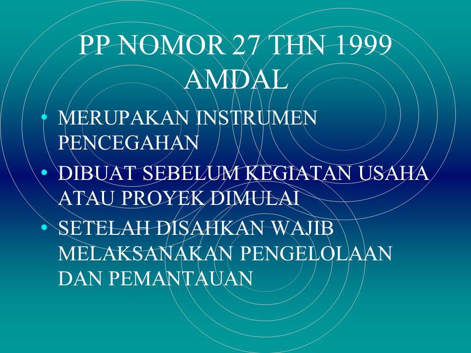 PP NOMOR 27 THN 1999 AMDAL MERUPAKAN INSTRUMEN PENCEGAHAN