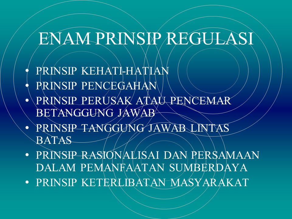 ENAM PRINSIP REGULASI PRINSIP KEHATI-HATIAN PRINSIP PENCEGAHAN