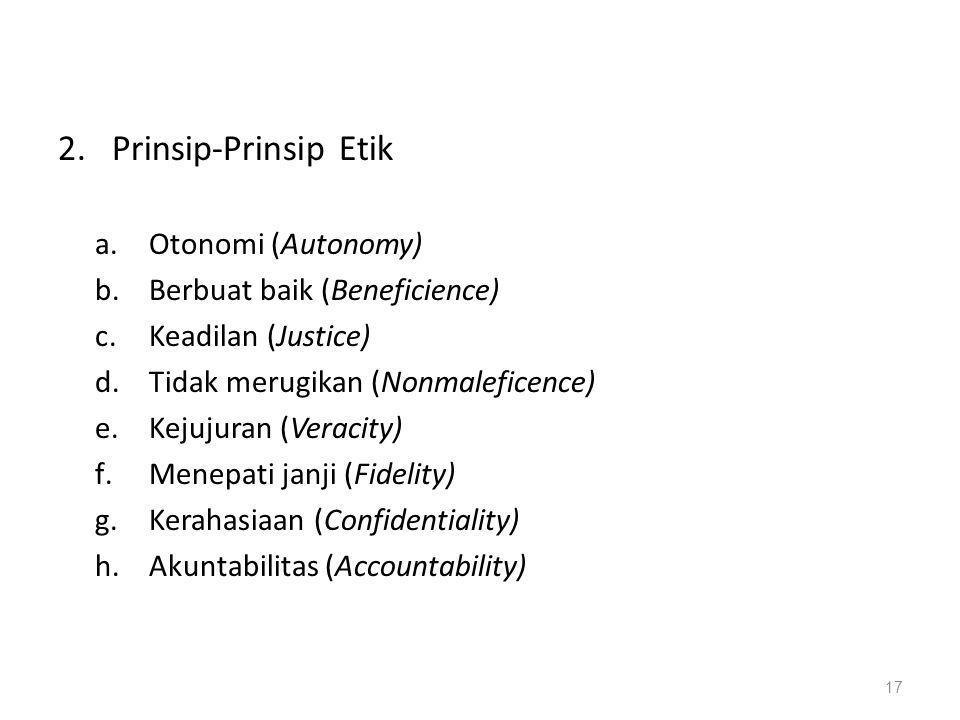 Prinsip-Prinsip Etik Otonomi (Autonomy) Berbuat baik (Beneficience)