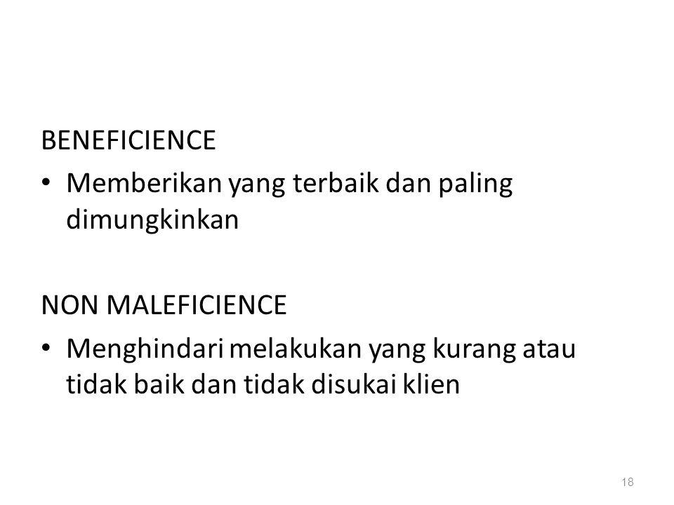 BENEFICIENCE Memberikan yang terbaik dan paling dimungkinkan. NON MALEFICIENCE.
