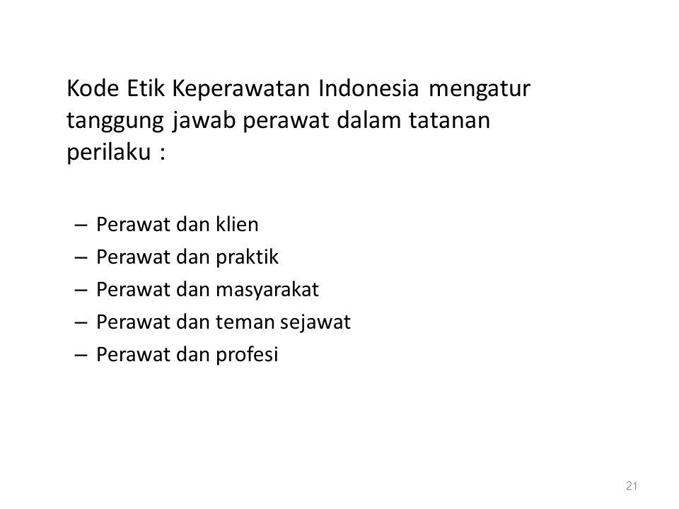 Kode Etik Keperawatan Indonesia mengatur tanggung jawab perawat dalam tatanan perilaku :