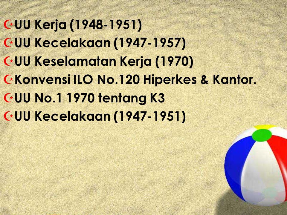 UU Kerja (1948-1951) UU Kecelakaan (1947-1957) UU Keselamatan Kerja (1970) Konvensi ILO No.120 Hiperkes & Kantor.