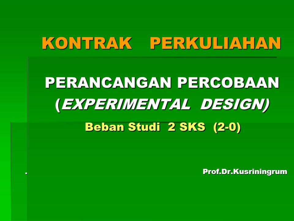 KONTRAK PERKULIAHAN PERANCANGAN PERCOBAAN (EXPERIMENTAL DESIGN) Beban Studi 2 SKS (2-0) .