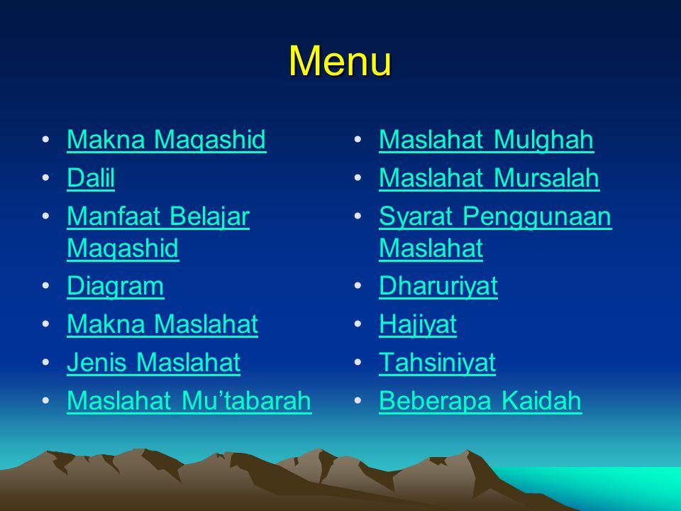Menu Makna Maqashid Dalil Manfaat Belajar Maqashid Diagram