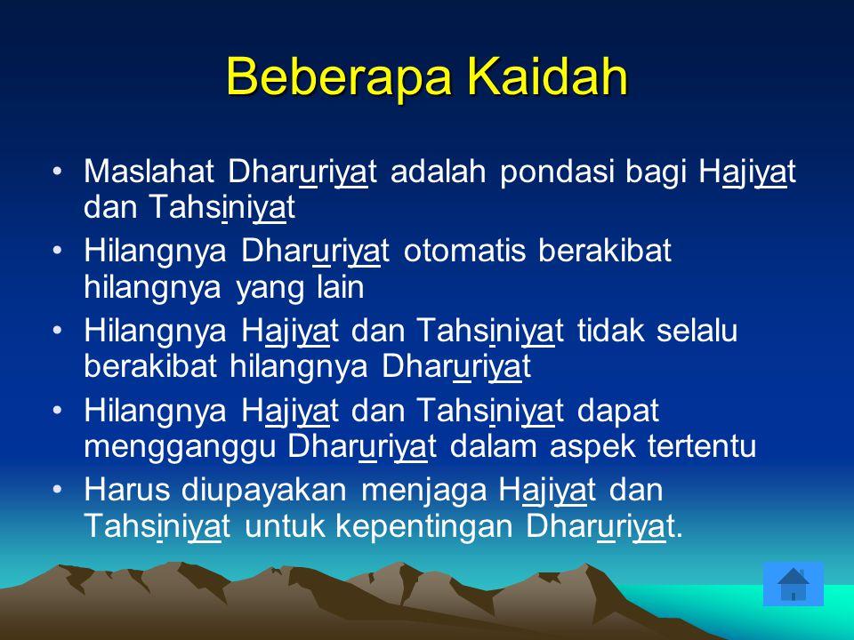 Beberapa Kaidah Maslahat Dharuriyat adalah pondasi bagi Hajiyat dan Tahsiniyat. Hilangnya Dharuriyat otomatis berakibat hilangnya yang lain.