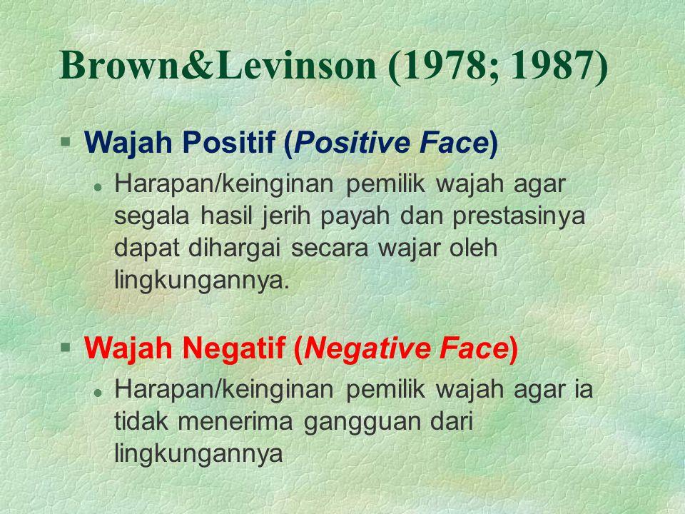 Brown&Levinson (1978; 1987) Wajah Positif (Positive Face)