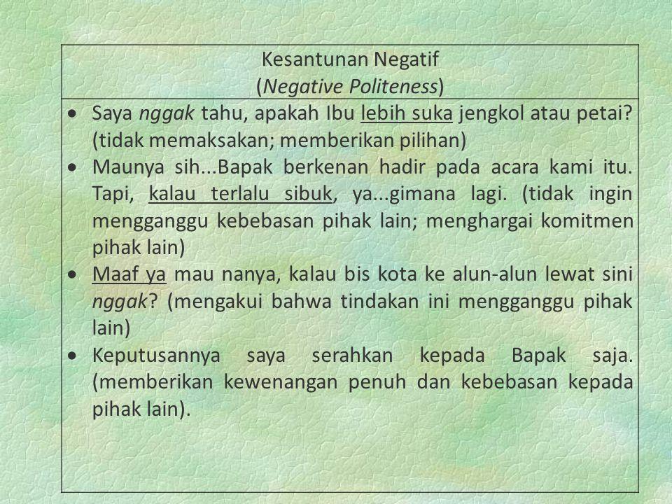 (Negative Politeness)