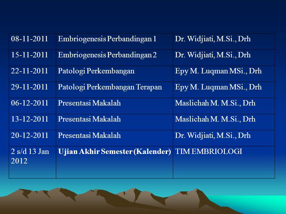 08-11-2011 Embriogenesis Perbandingan 1. Dr. Widjiati, M.Si., Drh. 15-11-2011. Embriogenesis Perbandingan 2.