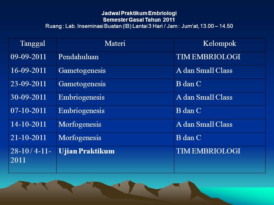 Jadwal Praktikum Embriologi